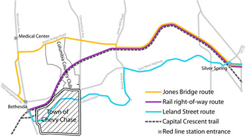 Map of three Purple Line alignments.