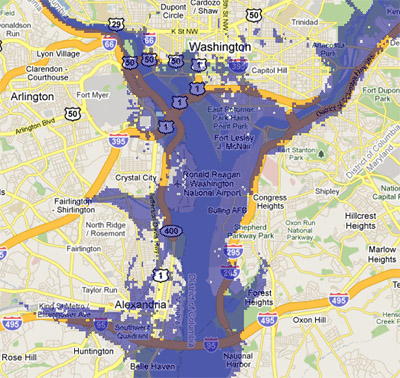 12 meter sea rise map, Washington, DC