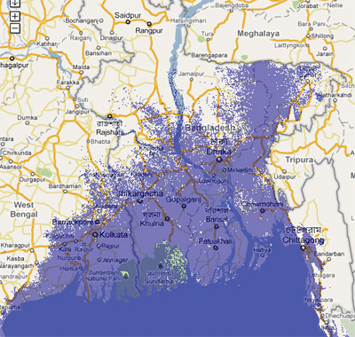 12 meter sea rise map, Bangladesh