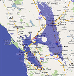12 meter sea rise map, Northern California