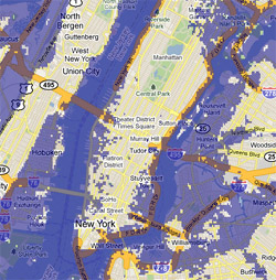 12 meter sea rise map, New York