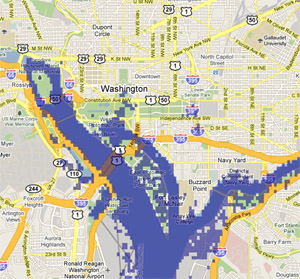 2 meter sea rise map, Washington, DC