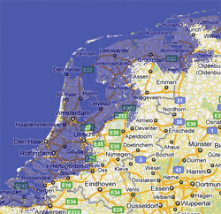 2 meter sea rise map, Netherlands