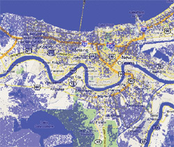 2 meter sea rise map, New Orleans