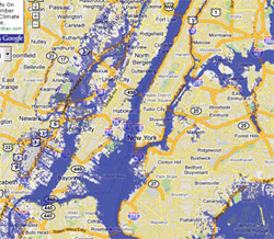 2 meter sea rise map, New York