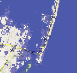 2 meter sea rise map, Ocean City, MD