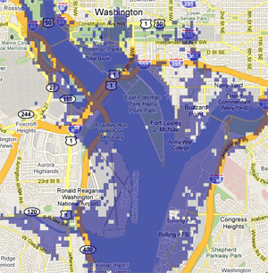 7 meter sea rise map, Washington, DC
