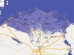 7 meter sea rise map, Egypt