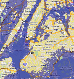 7 meter sea rise map, New York