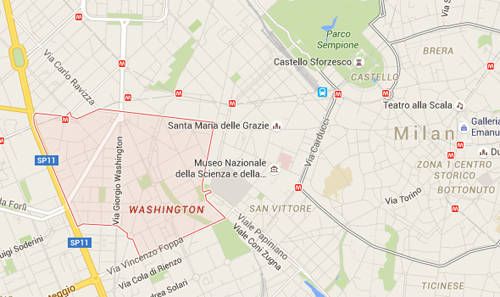 "There's a ""Washington"" neighborhood in Milan, Italy"